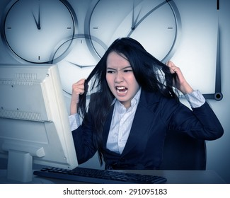 Asian business get angry because overtime work. Business overtime conceptual