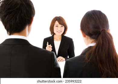 asian business group working on white background