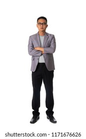 asian business male with serious look isolated on white