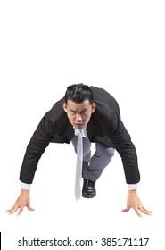asian business man acting like runner athlete isolated white background
