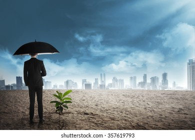 Asian business man in black umbrella stand beside plant seed grow on the desert. Business investment concept