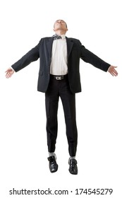 Asian business man flying isolated on white background.