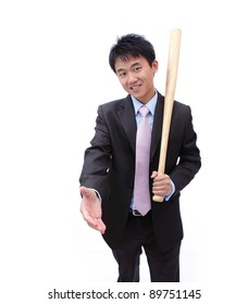 Asian Business man handshake and holding baseball bat