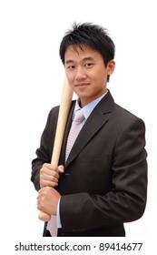 Asian Business man holding baseball bat isolated on white background