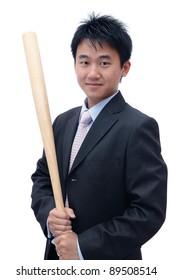 Asian Business man holding baseball bat