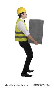 Asian business man lift heavy box isolated over white background