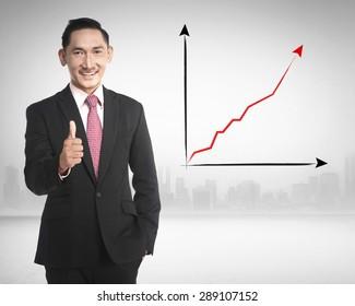 Asian business man show thumb up because sales increasing
