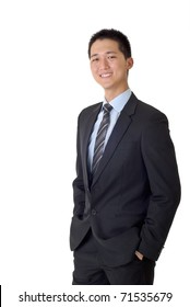 Asian business man with smiling, full length portrait isolated on white background.
