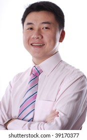 Asian business man smiling isolated on a white background