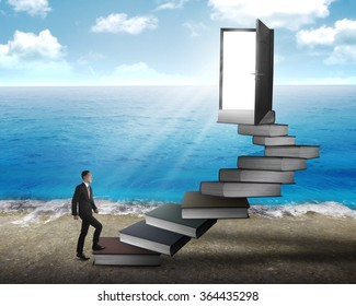 Asian business man stepping up stair made from book. Business knowledge concept