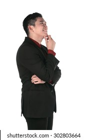 Asian business man thinking isolated over white background