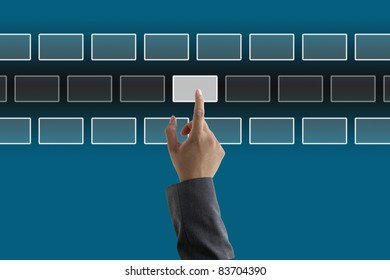 asian business man touching on touch screen interface