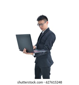 Asian Business man using laptop computer isolated on white background, clipping path inside