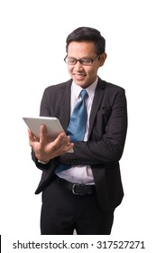 Asian business man using tablet computer isolated on white background