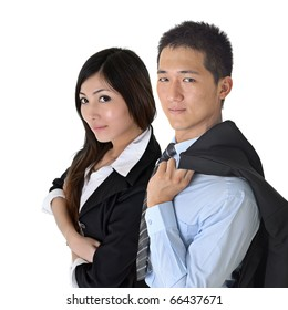 Asian business man and woman with confident expression over white.Focus on man.