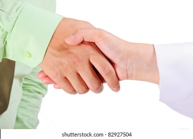 Asian business people shaking hands. male and female
