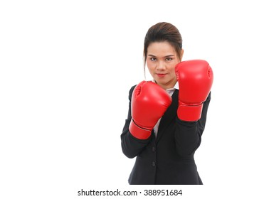 Asian business woman with boxing gloves isolated on white background