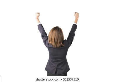 Asian Business Woman Happy With Arms In The Air