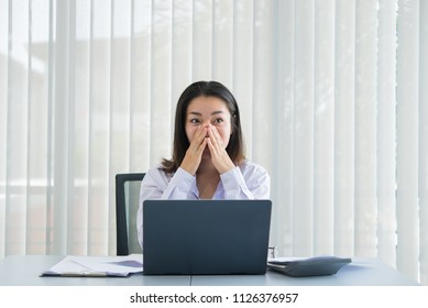 Asian business woman happy in a office,Worker success from work,Thailand people,Happiness girl concept