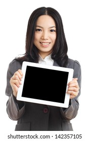 Asian business woman hold tablet , focus on tablet