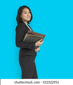 Asian Business Woman Holding Documents