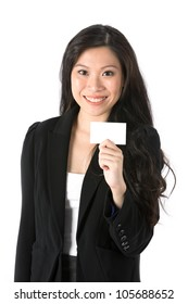 Asian Business woman holding an empty business card.