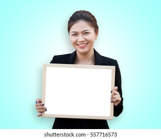 Asian business woman holding white board