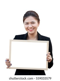 Asian business woman holding white board, isolated on white