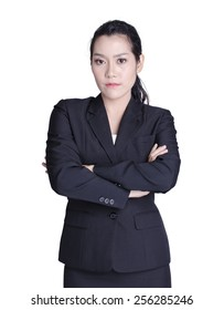 asian business woman on white background