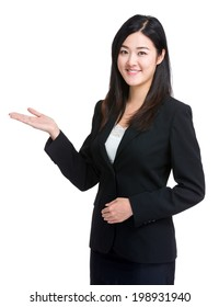 Asian business woman with open hand.