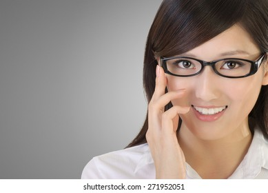 Asian business woman portrait with black glass and look at you.
