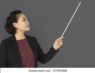 Asian Business Woman Presenting Smiling