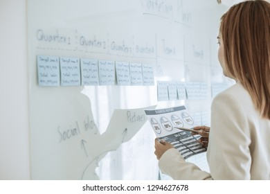 Asian business woman reviewing data in financial charts and graphs. Accounting