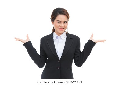 Asian business woman shrugging shoulders isolated on white background