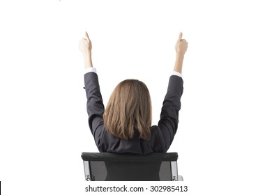 Asian Business Woman Sitting In Chair Feeling Happy