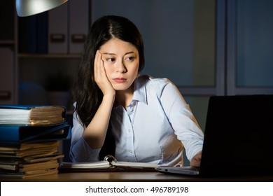 asian business woman sitting at desk sleepy working overtime late night. indoors office background