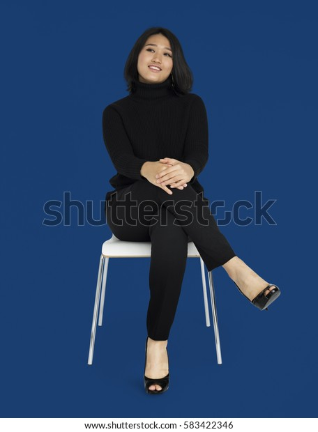Asian Business Woman Sitting Smiling