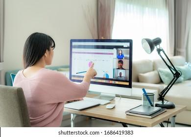 テレビ会議での計画について同僚と話し合うアジア系のビジネスマン。ビデオ通話でのオンラインミーティングにコンピュータを使用する複数民族のビジネスチーム。家で働く人のグループ。