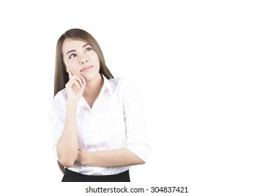 Asian Business Woman Thinking