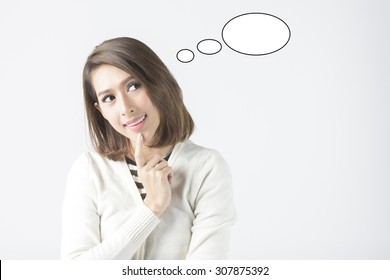 Asian Business Woman Thinking With Thinking Bubble