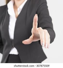 Asian Business Woman Touching Transparent Screen