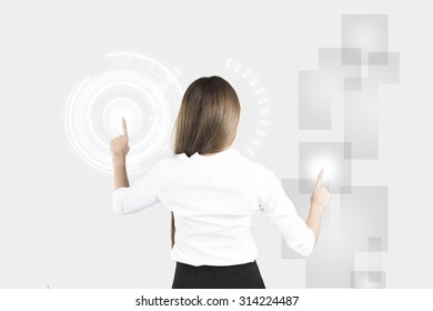 Asian Business Woman Touching Transparent Screen. Concept for Technology