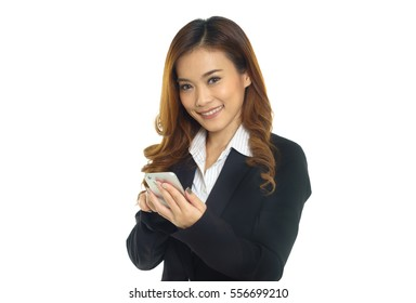 Asian  business woman use mobile phone