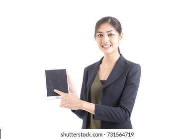 Asian Business Woman using Tablet with attractive smiling isolated on white background, Woman working concept.