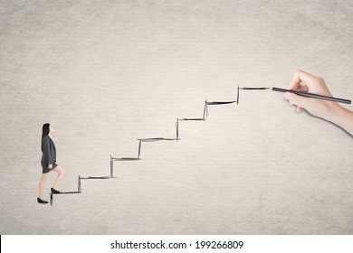 Asian business woman walk on stairs.