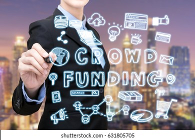 Asian business woman is writing crowdfunding idea concept. Elegant Design for smart business,business financial and business idea concept