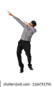 asian businessman in dab pose with white background