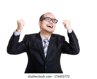 Asian businessman feeling excited