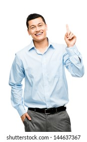 asian businessman has idea isolated on white background