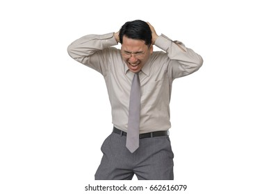 Asian businessman with a headache with a white background.